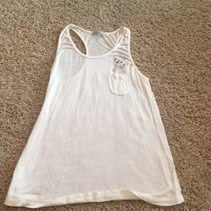 White Charlotte Russe cat in the pocket tank top